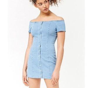 Light Denim Off the Shoulders Denim Dress